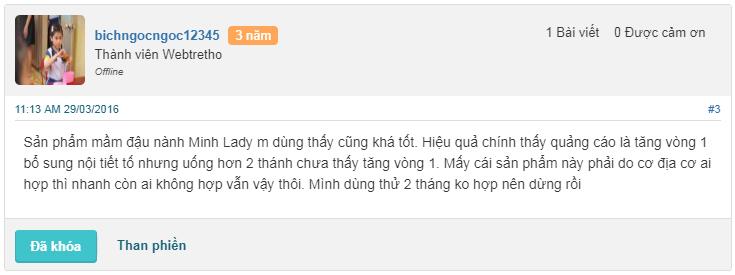 Review mầm đậu nành Minh Lady có tốt không trên webtretho