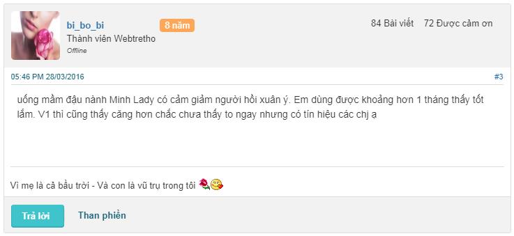 review mầm đậu nành Minh Lady có tốt không webtretho