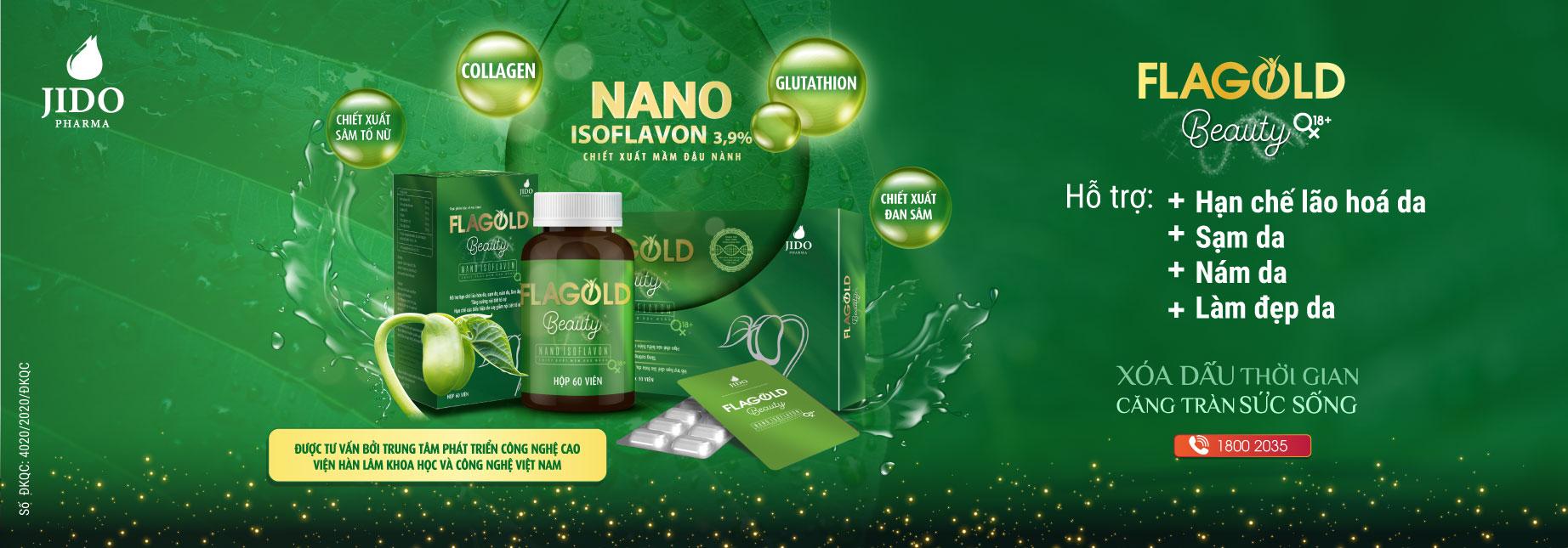Nano mầm đậu nành FlaGold   Xóa dấu thời gian căng tràn sức sống